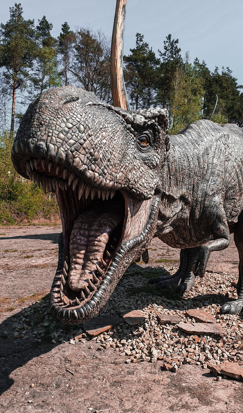 grey and black dinosaur statue