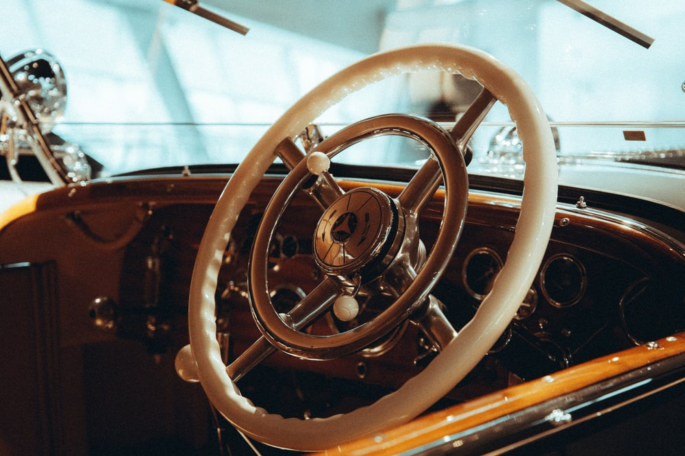 brass and silver steering wheel