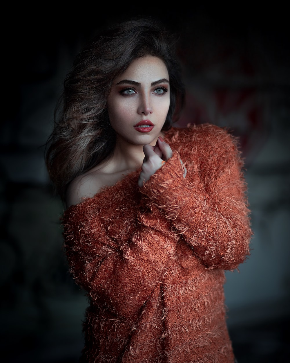 woman in red fur coat