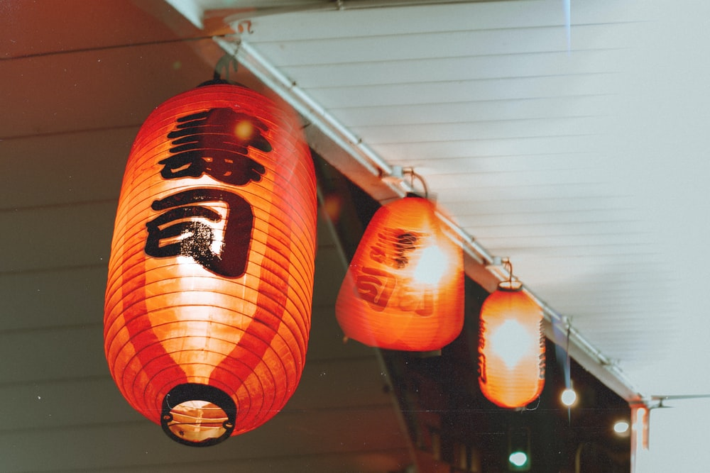 red and black lantern lamp
