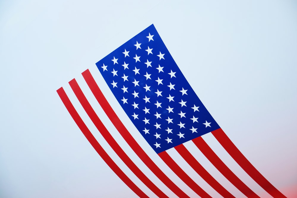 us a flag on white background