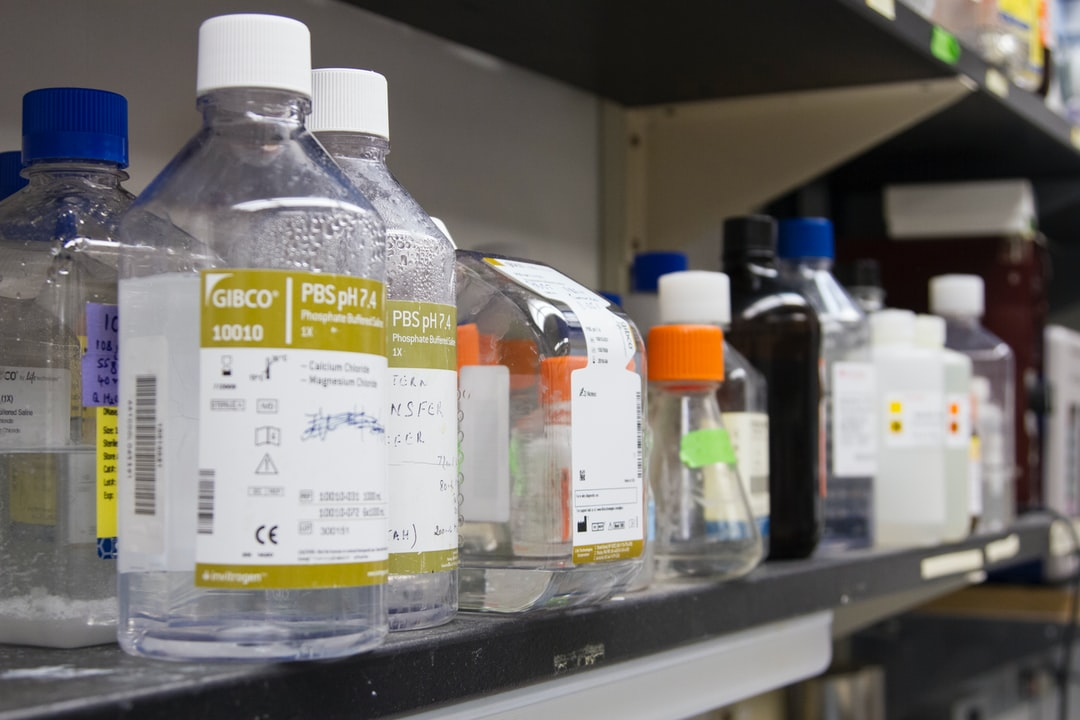 Materials at a laboratory bench at the National Institutes of Health Clinical Center.