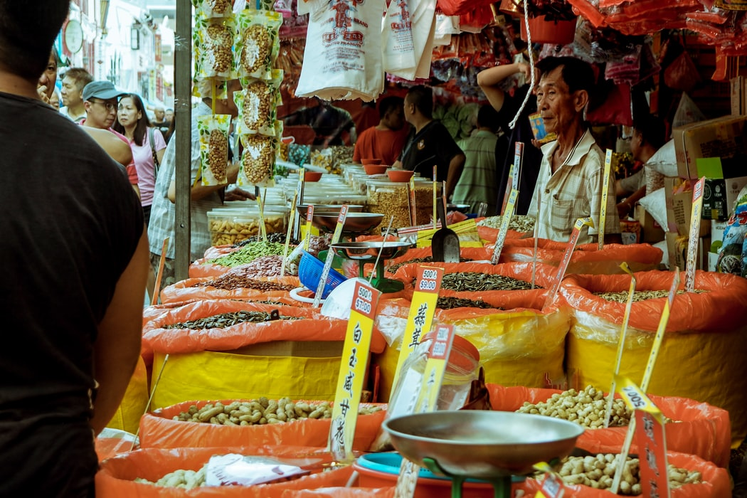 A Spices Shop at the Chinatown Street Market in Singapore