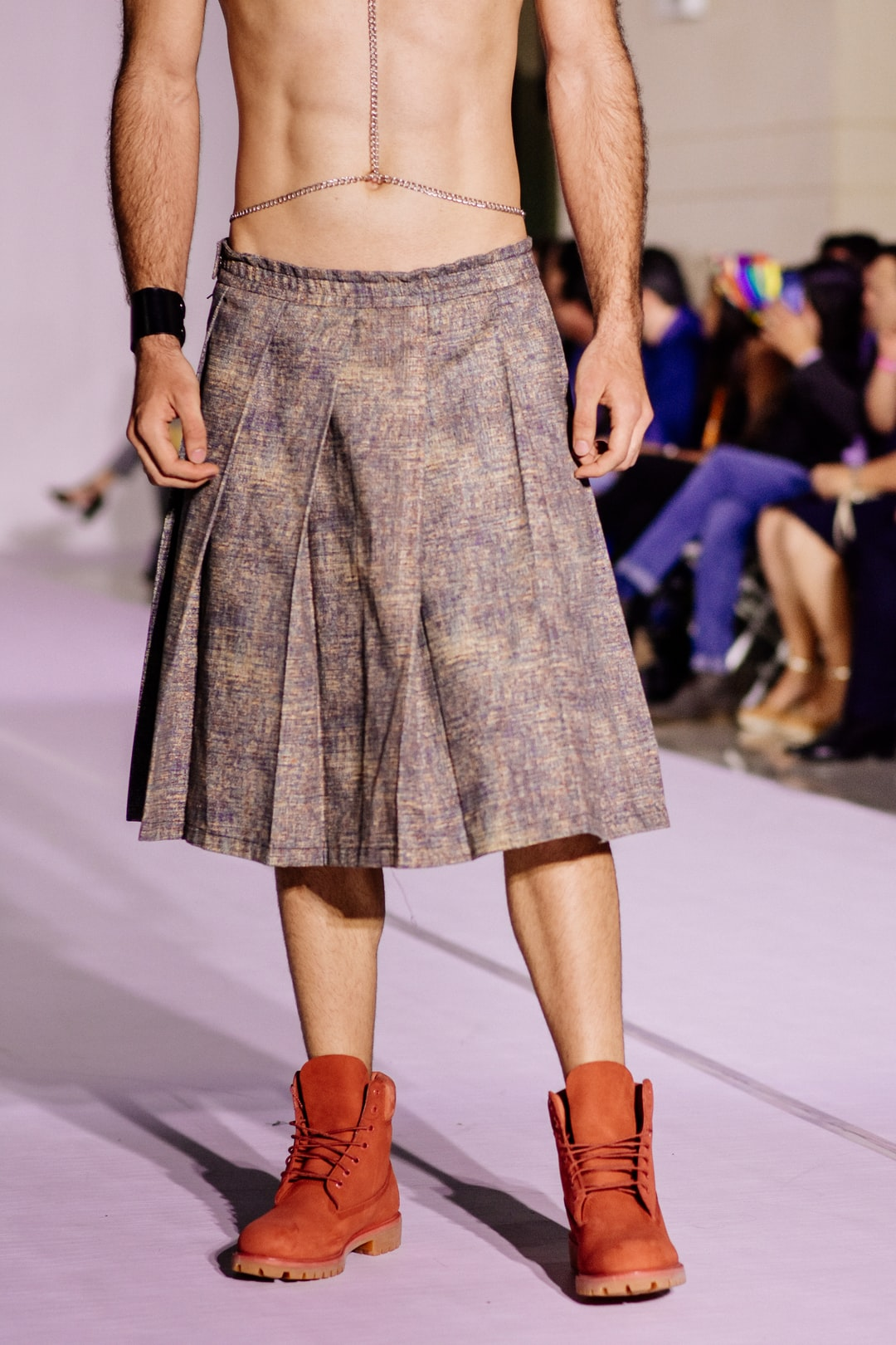 Male skirt fashion week with red boots trends new york