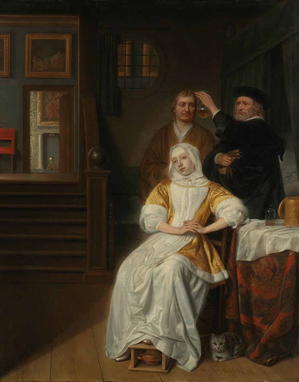 woman in white dress sitting beside man in black suit