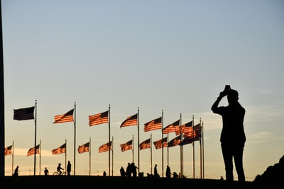 silhouette of man standing near flags during daytime washington monument zoom background