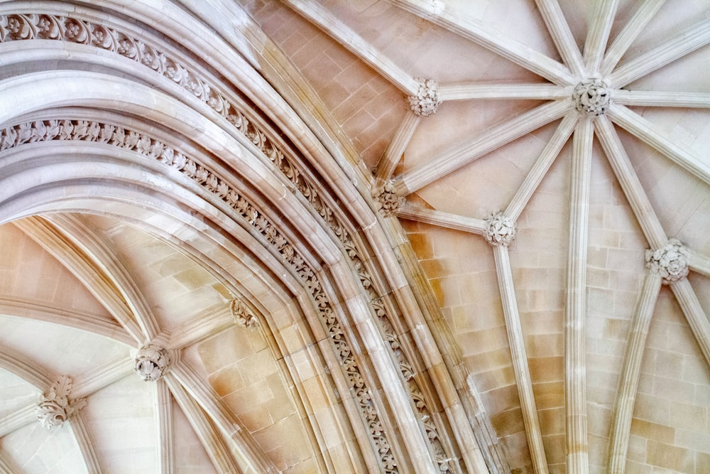 white and brown floral ceiling