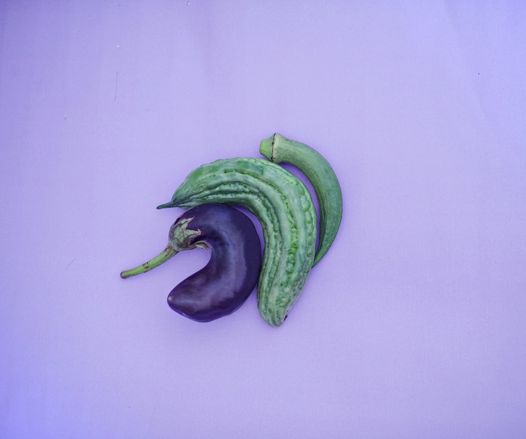 Several vegetables side by side for unporn type, sex education usage.