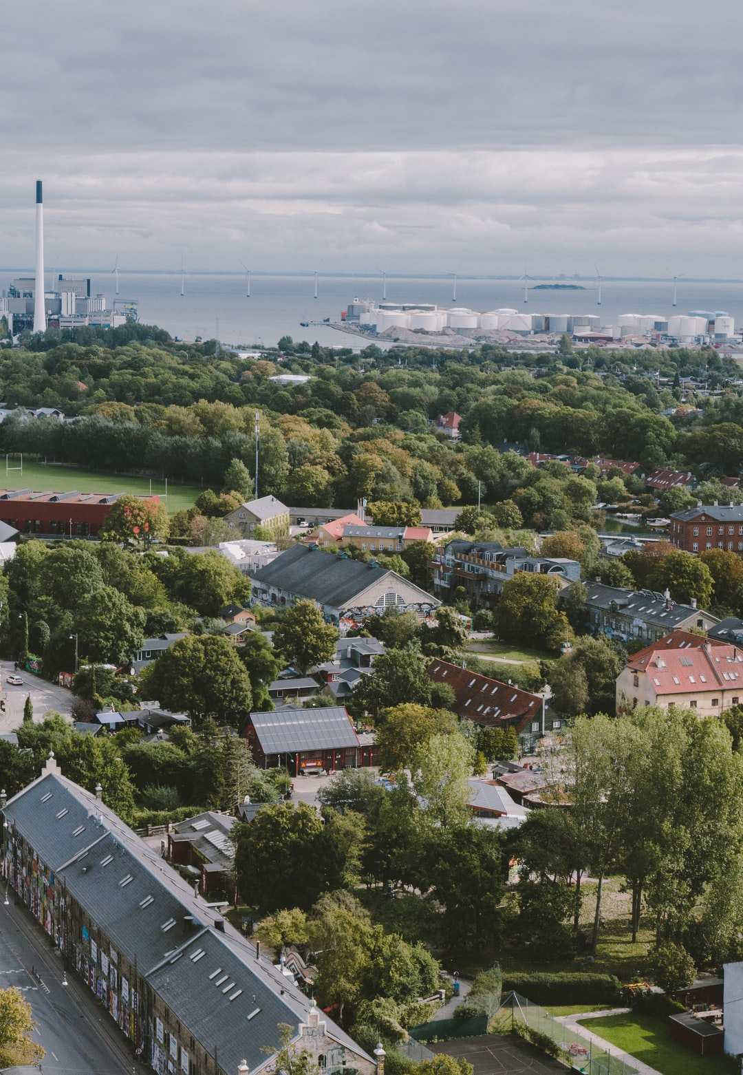 Aerial view on Christiania, the autonomous hippie community