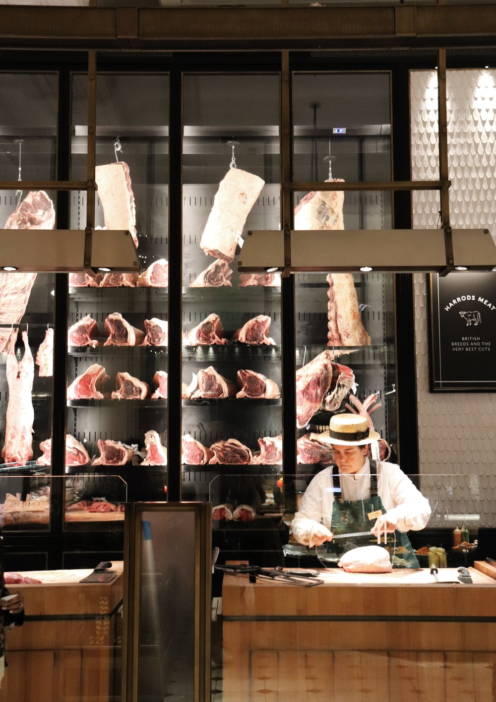 raw meat on display counter