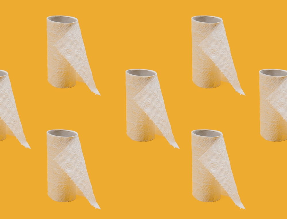 white tissue paper roll on blue background