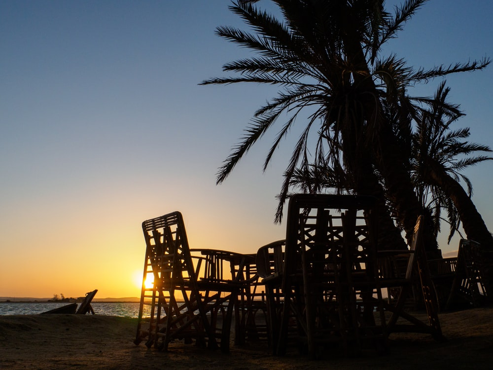 brown wooden chairs on beach during sunset