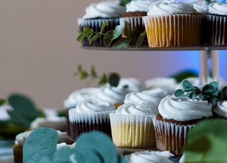 white and brown cupcakes on blue steel rack