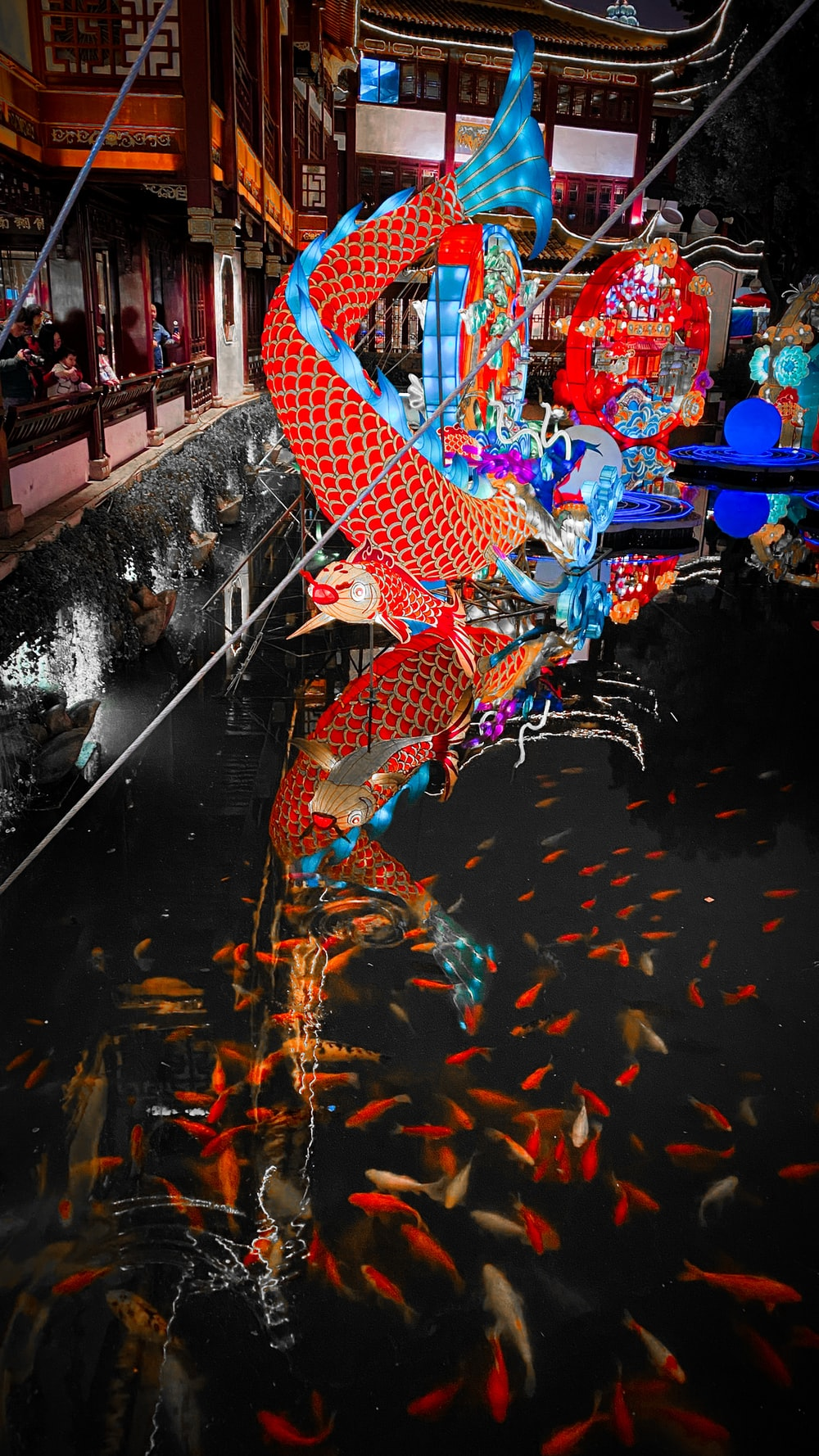 red and blue dragon on the street