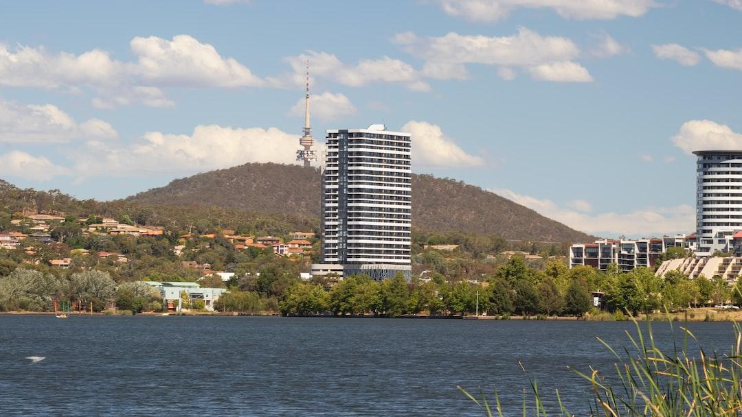 Telstra Tower viewed over lake Ginninderra in the Australian Capital Territory