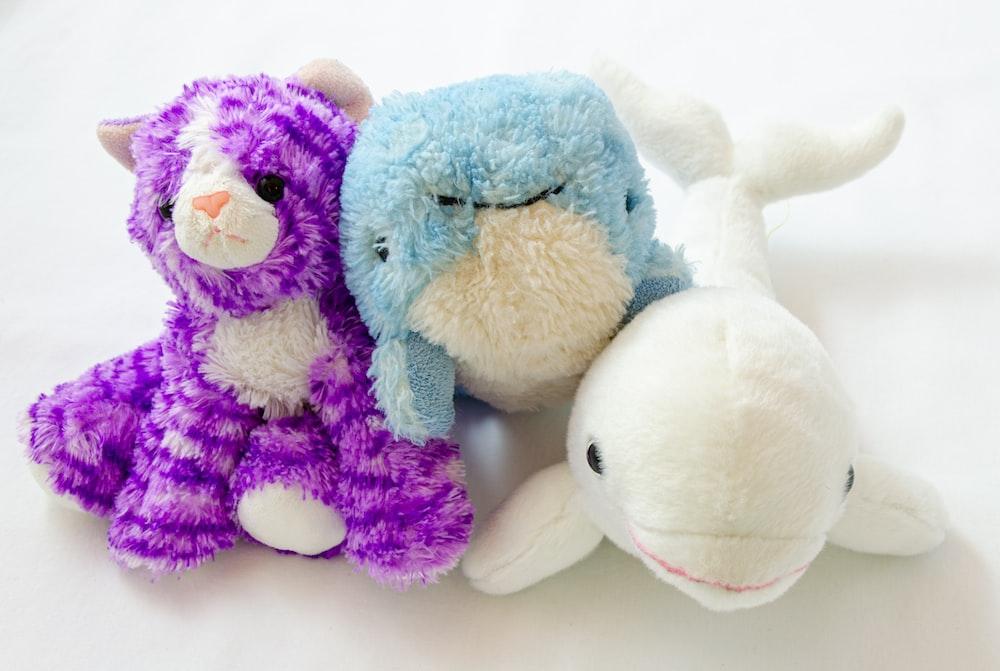 blue and purple bear plush toy