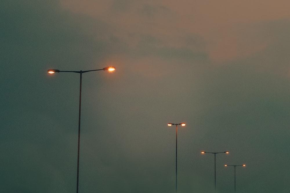 light post under gray sky