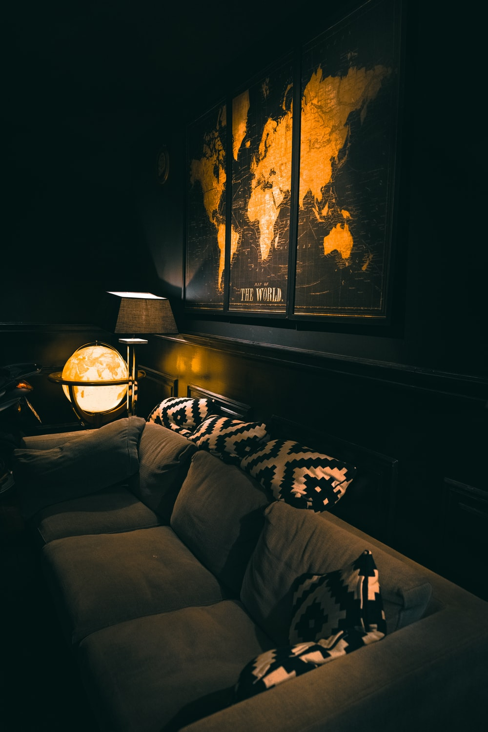 black and white throw pillows on couch