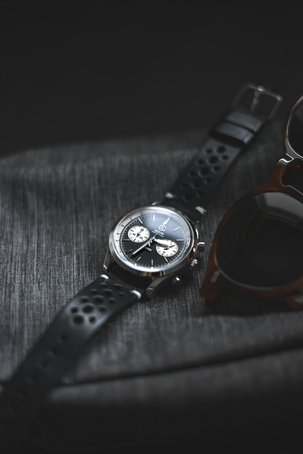 black and silver chronograph watch