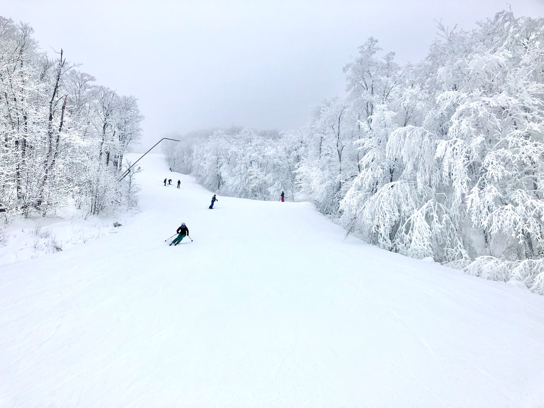The mont Tremblant ski resort in a beautiful all white monochrome panorama, white trees and white snow ski trails with some skiers and snowboarders. Quebec, Canada.