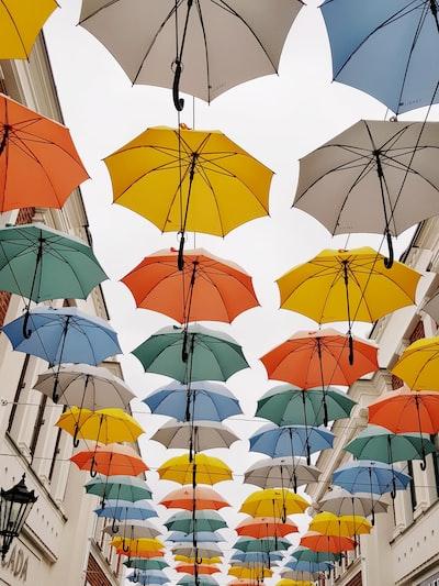 Sunshine Umbrellas in the air
