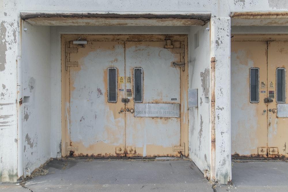white and brown wooden door