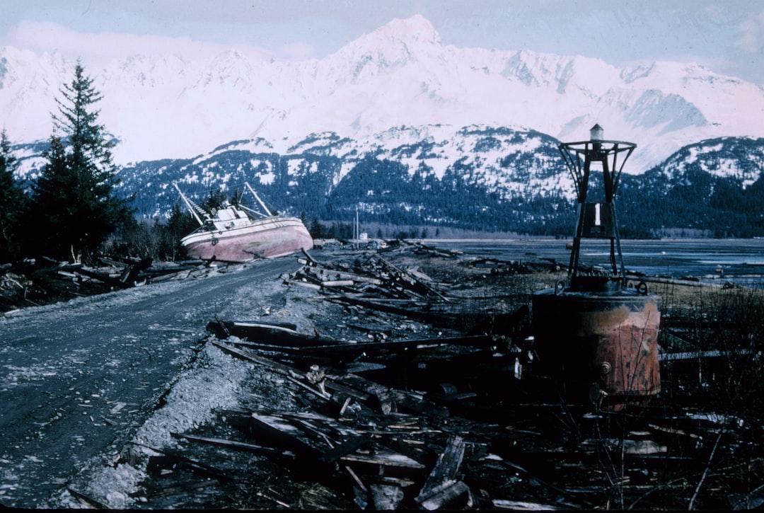 Alaska 1964 Good Friday earthquake and tsunami damage.