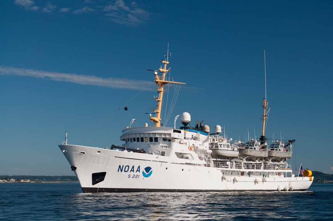 Port side view of NOAA Ship RAINIER at anchor.