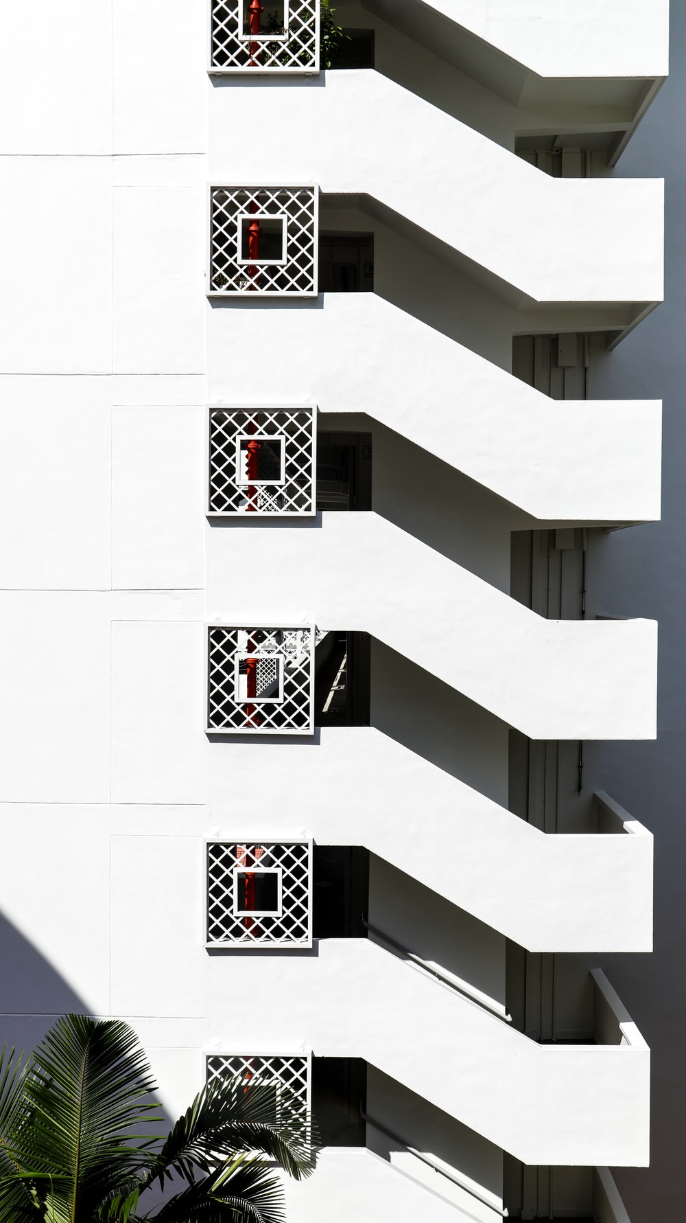 white and black concrete stairs