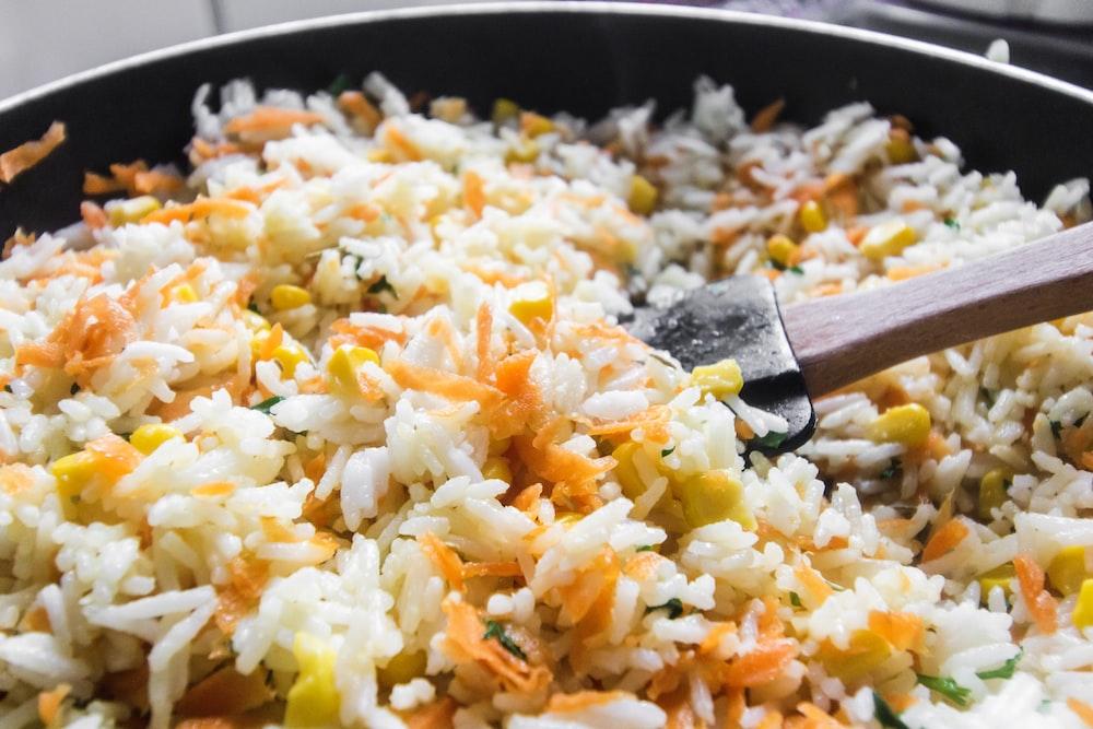 fried rice on black pan