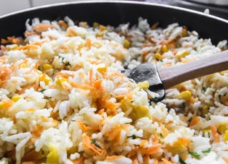 fried rice on black pan