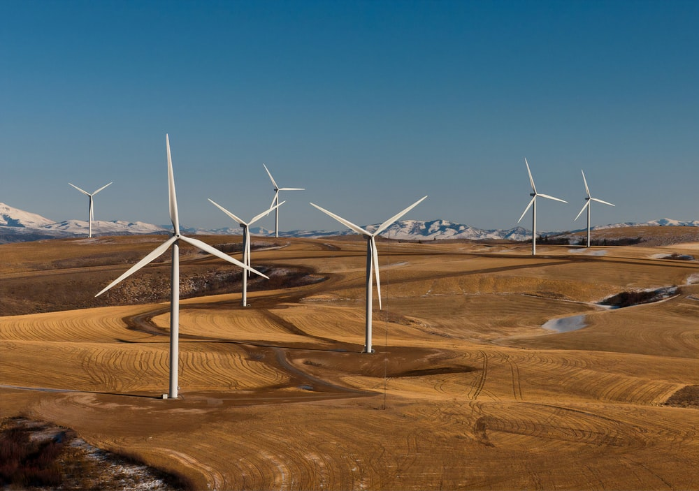 white wind turbines on brown field under blue sky during daytime