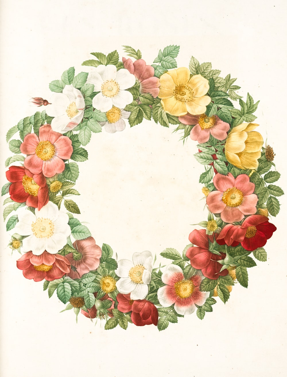 yellow red and green floral wreath