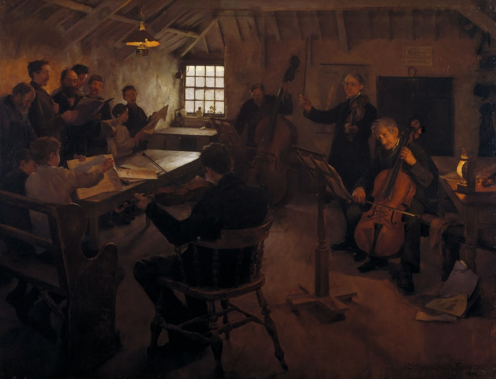 group of people playing musical instruments