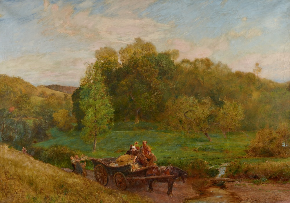 brown wooden carriage on green grass field near green trees during daytime