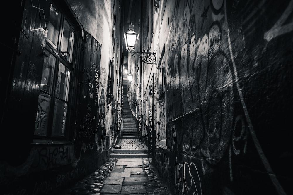 empty hallway with light fixture