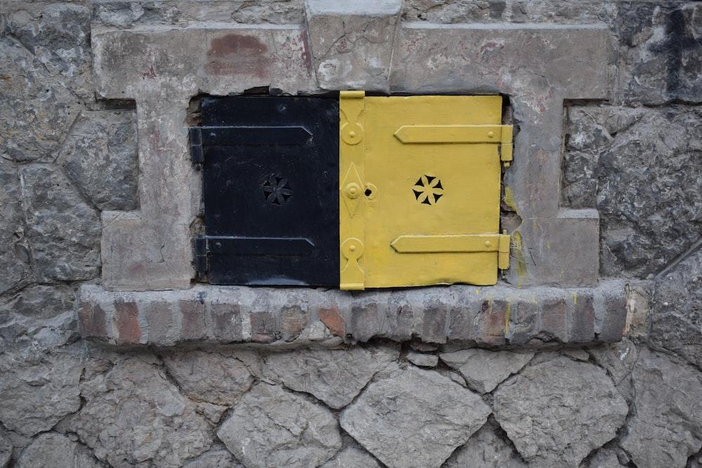 black and yellow steel door