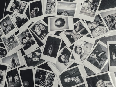 Disordered collection of polaroids. Black and White
