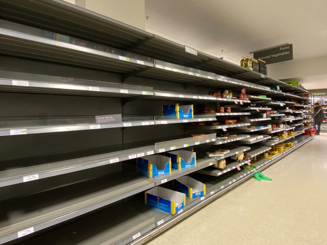 Shelves emptied due to panic buying. Pasta and pasta sauces were particularly popular.