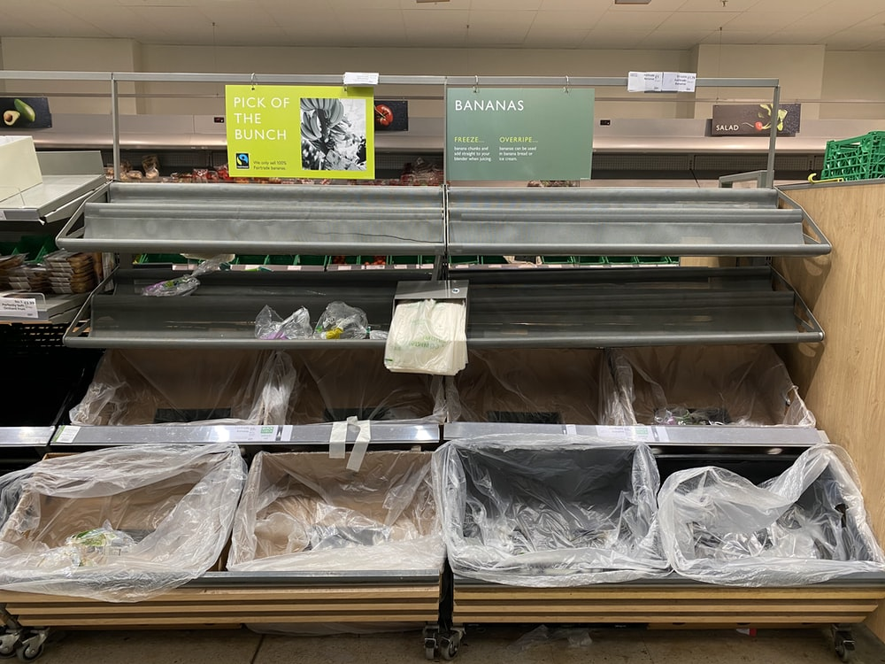white plastic bags on display counter