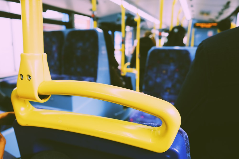 yellow and blue bus interior