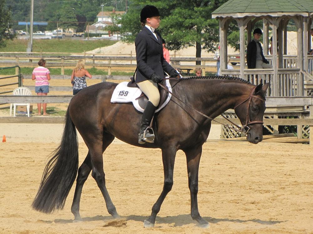 man in black jacket riding brown horse during daytime