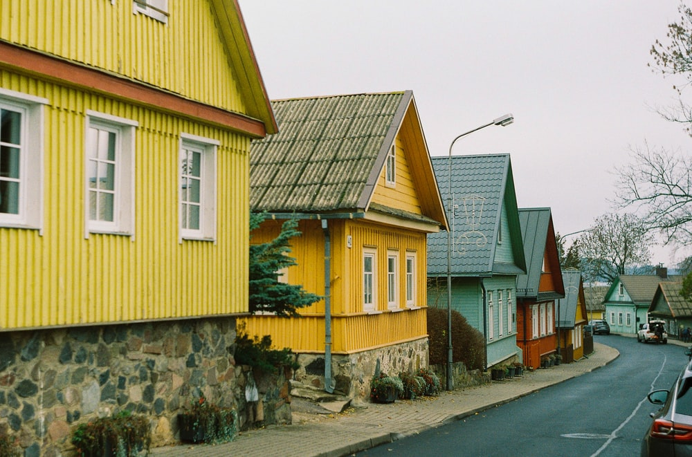 yellow and brown wooden house