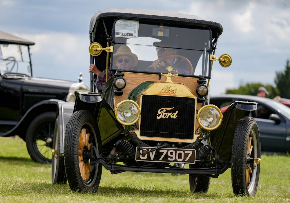 black and brown vintage car