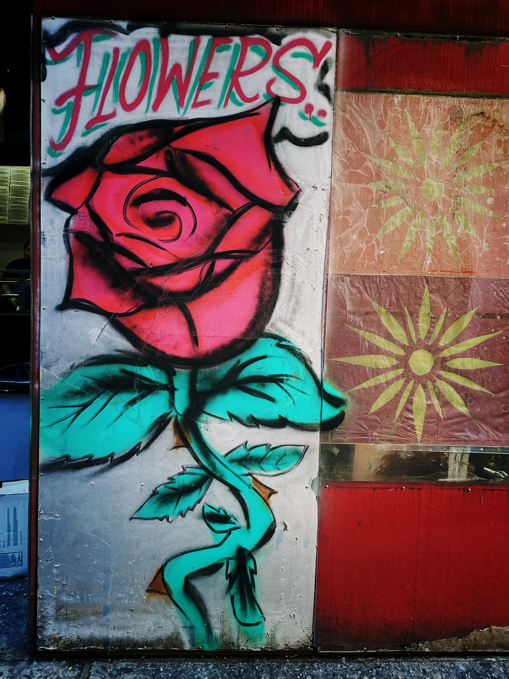 red and blue rose painting