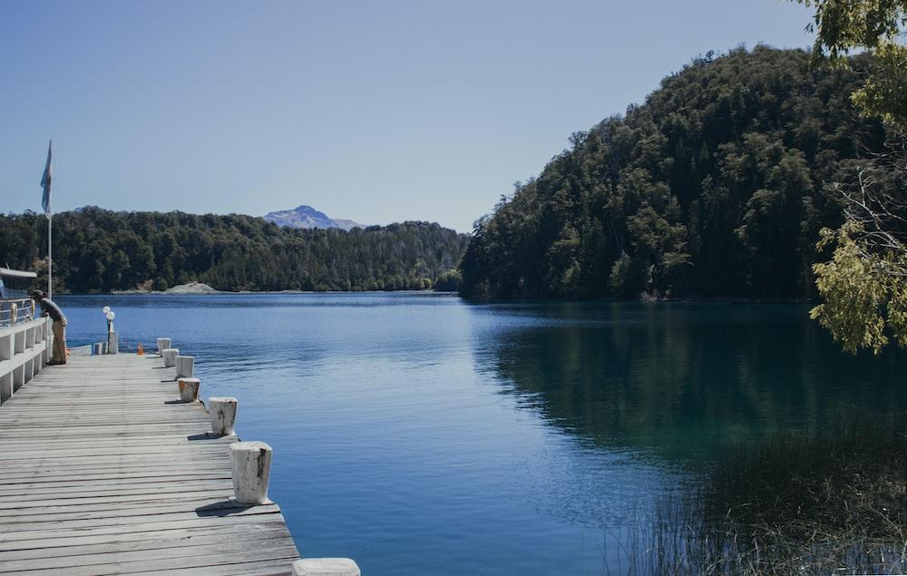 gray wooden dock on lake during daytime