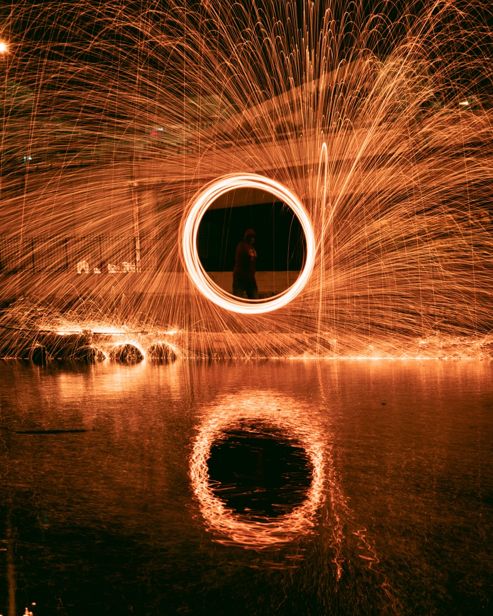 time lapse photography of a person in a tunnel
