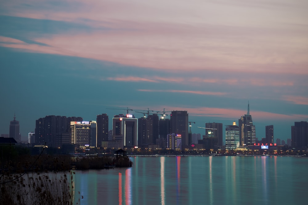 city skyline near body of water during night time