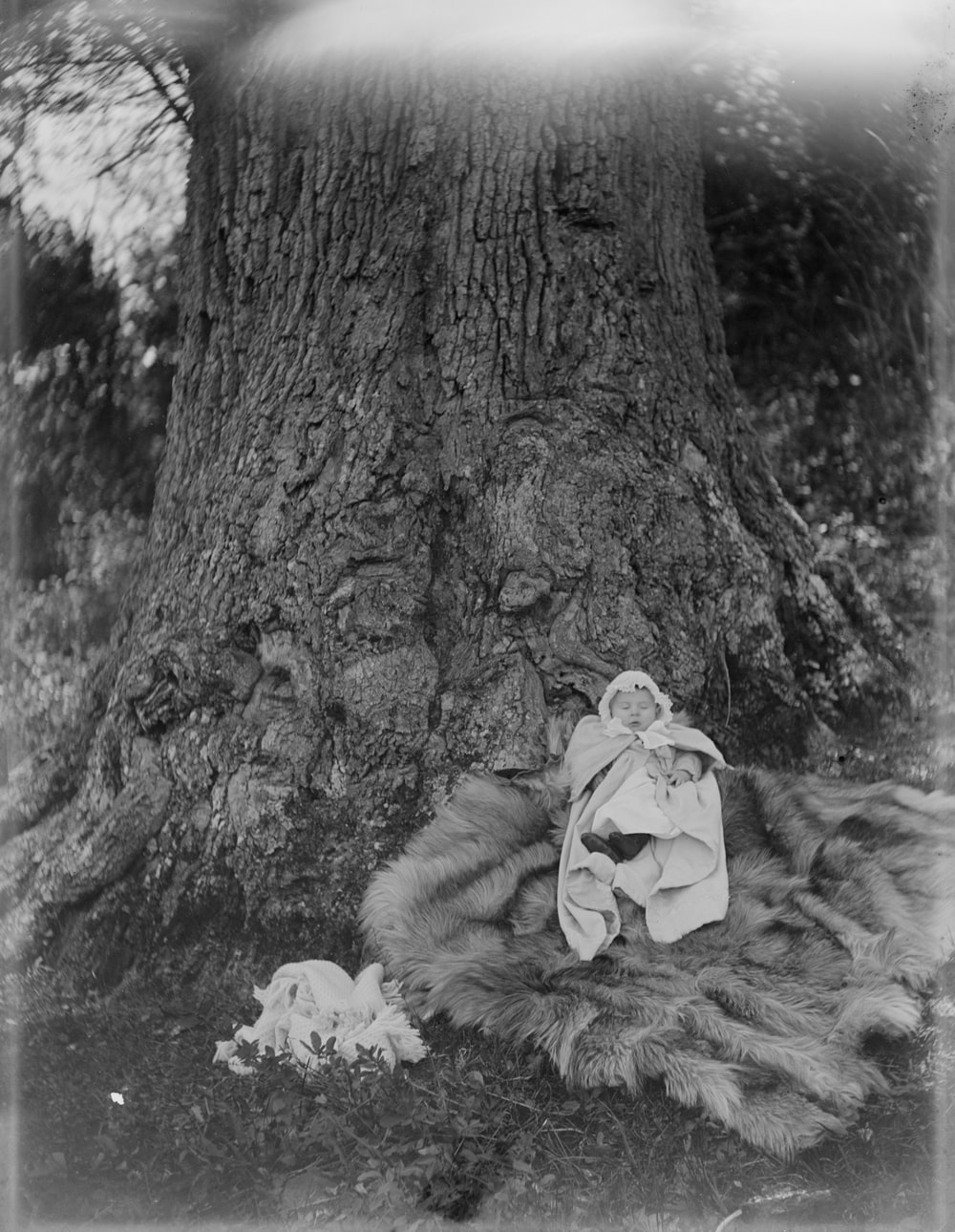 grayscale photo of woman in white jacket sitting on tree trunk