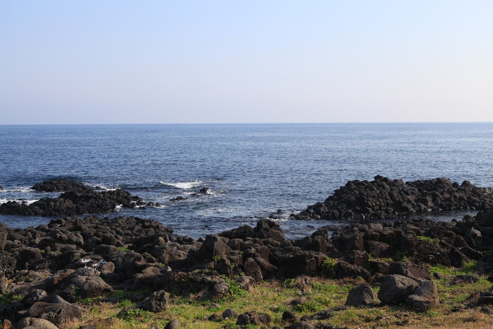 rocky shore with ocean waves crashing on rocks during daytime
